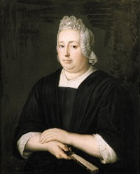 portrait of a lady, wearing a black dress with lace chemise and bonnet, holding a fan in her right hand by martinus de la court