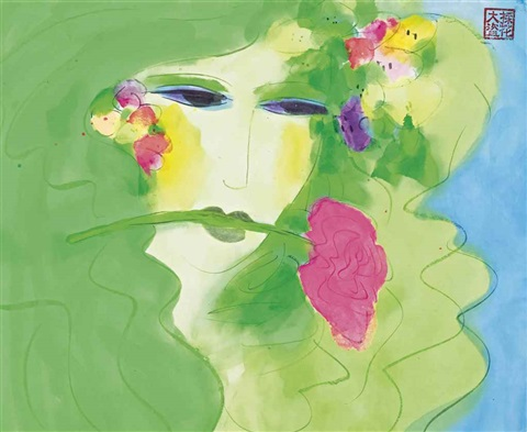 green lady with pink rose by walasse ting