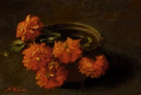 still-life with red flowers in a pot by marie heineken