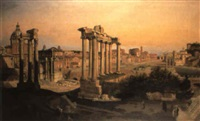 a view of the forum, rome with a photographer and an artist sketching by pierre monami