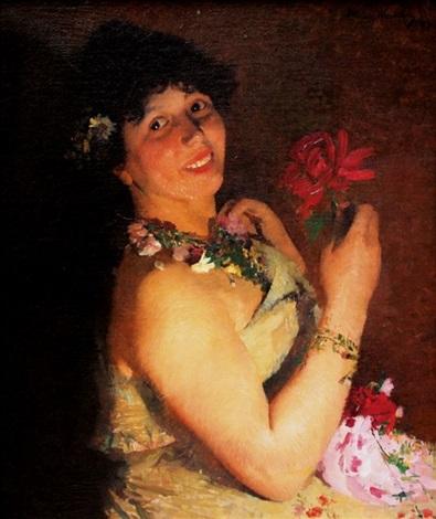 femme à la fleur rouge by henri jean guillaume martin
