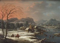 a mountainous winter landscape with skaters on a frozen river near a village by johann (jan) christian vollerdt