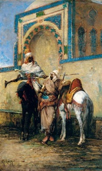 arab horsemen resting outside a mosque by giuseppe raggio