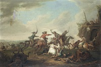 a cavalry skirmish; and a cavalry skirmish with figures firing from the rooftop (pair) by august querfurt