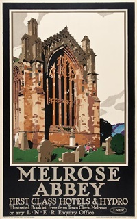 melrose abbey, lner by frank newbould