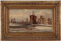 winter in einer niederländischen stadt by van hoom