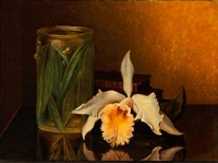 still life with a flower, a vase and books by bernardus arps
