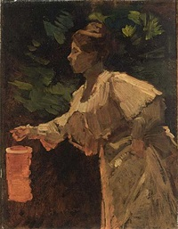 a lady with a chinese lantern by marinus van der maarel
