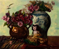 still life with brass pitcher, chinese vase and doll by cornelis koppenol