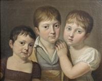 portrait de trois enfants en buste by jean jacques augustin raymond aubert