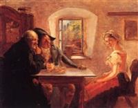 krostue, interior med ung kvinde og to mænd by oluf simony jensen
