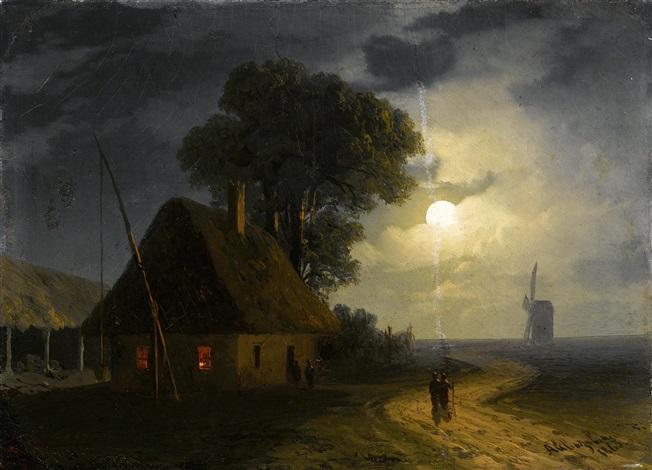 bauernhaus und windmühle im mondlicht by ivan konstantinovich aivazovsky