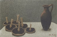 still life with jug and mushrooms by john armstrong