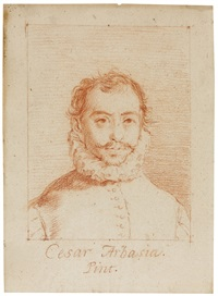 portrait of the painter cesar arbasia, bust-length, within red chalk framing lines by francisco de goya