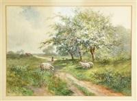 sheep on path by hugo anton fisher