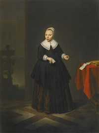 portrait of a girl, full-length in black, holding flowers in an interior by isaack jacobsz. van hooren