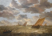 dutch shipping in a stiff breeze with a view of dordrecht beyond by abraham van beyeren