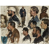 male heads (study) by fernand cormon