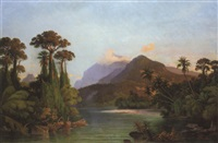 a bay with mountains beyond, ceylon by hermann reichsfreiherr von königsbrunn