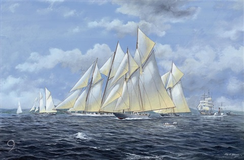 """""""candida,"""" """"suzanne"""" and """"cicely"""" lining up for the start by john j. holmes"""