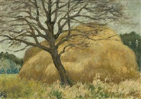 rural scene with haystack (france) by rupert bunny