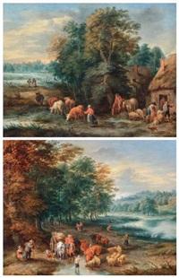 le départ de la ferme et troupeaux s'abreuvant dans un paysage animé (pair) by theobald michau
