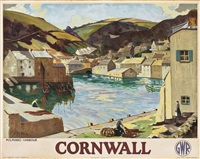 cornwall, polperro harbor by p.m. hill