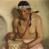 taos pueblo indian, john martinez by ernest martin hennings