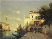 a venetian scene with st. mark's campanile in the distance by noel georges bouvard