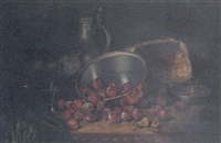 plums in a copper saucepan, a basket, a pewter jug, and a glass of figs on a table by august herrmann allgau