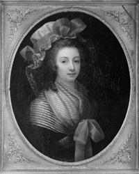 portrait de jeune femme au ruban rouge by jean voilles