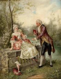 galantes paar in parklandschaft by karl lindner