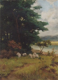 sheep grazing in a wooded river landscape by reginald smith