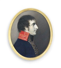 napoleon i (1769-1821), emperor of france /1815, as first consul 1799-1804, in profile to the right, in blue coat with high red collar by george engleheart
