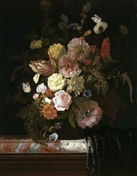 roses, peonies, tulips and other flowers, in a glass bowl standing on a veined marble slab, the corner which is covered in a plum-colored silk drapery by nicolaes lachtropius