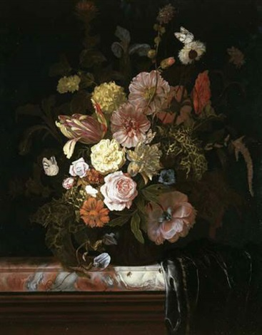 roses peonies tulips and other flowers in a glass bowl standing on a veined marble slab the corner which is covered in a plum colored silk drapery by nicolaes lachtropius