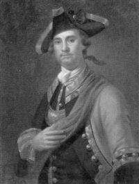 portrait of an officer, half length, in uniform by john wollaston