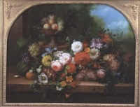 still ife with flowers and fruit on a ledge by thomas webster