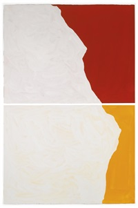 diptych with irregular shapes, on two different colors (in 2 parts) by sol lewitt