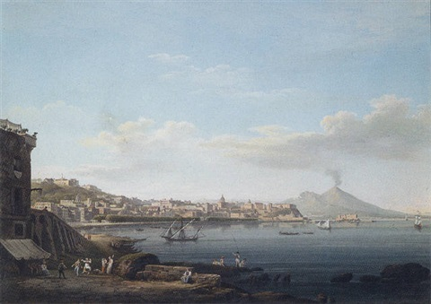 a view of the bay of naples from pozzuoli with vesuvius beyond by italian school neapolitan 19