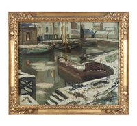 barges in a harbor in winter by armand adrien marie apol