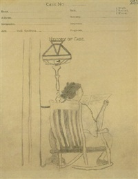 ora jenni pippin seated in a rocking chair reading a newspaper by horace pippin