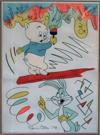 porky pig and bugs bunny by ronnie cutrone