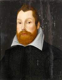 portrait of a gentleman, bust-length, in a black coat by anglo-dutch school (17)