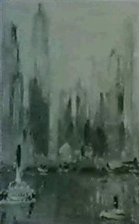 manhattan skyline by mary f. andrade
