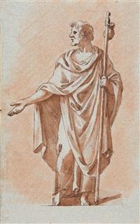 stehender pilger in antiker gewandung, in der rechten hand einen pilgerstab, an dem ein beutel hängt by peter anton von verschaffelt