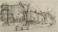 riverside drive with gates of columbia by rackstraw downes