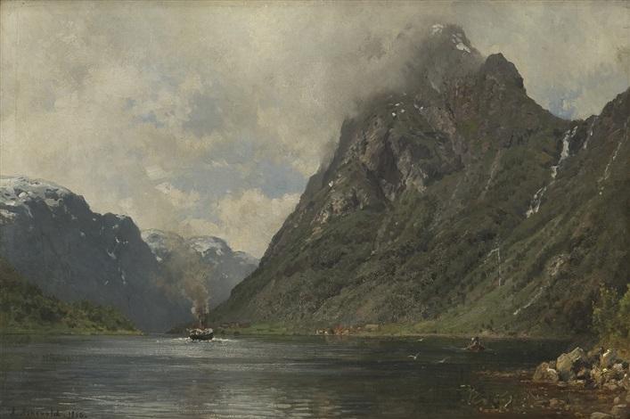 fjordlandskap med dampbåt og folkeliv by anders monsen askevold
