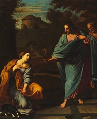 the canaanite woman kneeling before christ asking for help to heal her daughter. (matthew 15, 21-28) by ludovico gimignani
