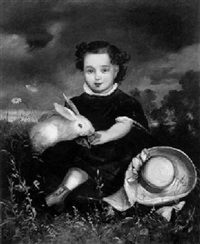 kinderportrait mit kaninchen by joseph nitschner